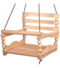 """Качеля k-0160 """"Бук"""", деревянная с шариками №3, 6 плоских планок"""