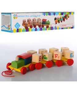 """Деревянная игрушка MD 0917 """"Паровозик"""", каталка, в кор-ке"""