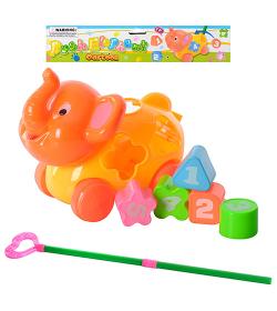 Каталка 2322k сортер, на палке, слоник, в кульке