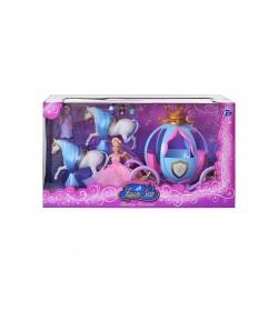 Карета TG 778397/201 (12шт) кукла Золушка, 2 лошади, фея, мыши, свет, на бат-ке, в кор-ке,49-20-26см