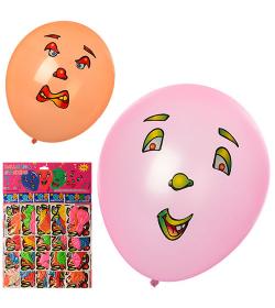Шарики надувные MK 1102 с наклейками, 3 шт в кульке, 20 шт на листе