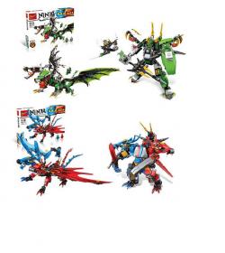 Конструктор 170-171 (16 шт) NJ, дракон, фигурки 2шт, оружие,2вида(451дет и 472дет) в кор-ке