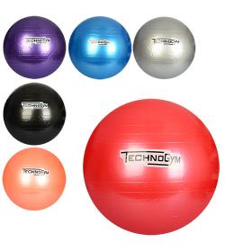Мяч для фитнеса-65см MS 0982 (30шт) Фитбол, резина, 900г, 6 цветов, в кульке, 18-16-8см