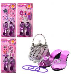 Косметика A 038-041 (72шт) туфли,телефон,расческа,колье,заколки для волос,на листе, 47,5-21,5-5см