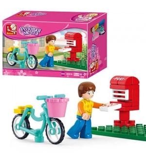 Конструктор SLUBAN M38-B0516 фигурка, велосипед, почтовый ящик, 29 дет