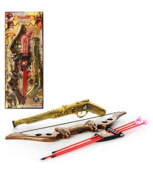 Набор оружия 531-1 B 21 пистолет-трещетка, лук, стрелы-присоски, на листе