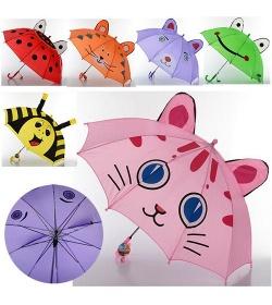 Зонтик MK 0527 детский, с рисунком и ушками