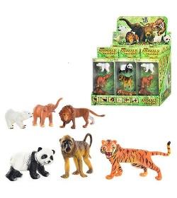 Животные Q 9899-187m (1 уп) дикие, 2 вида, 3 шт в кор-ке, 12шт в дисплее, 33-22-21см
