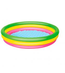 Бассейн 51103 (6шт) детский,круглый,надувн дно,3 кольца,рем зап,211л,152-30см,в кульке,33-28см
