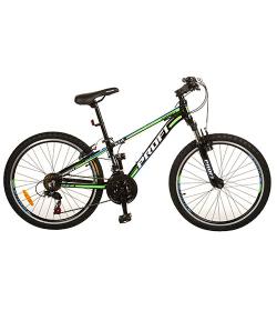 Велосипед 24 д. G24A315-L-1B (1шт/ящ) черно-салат.
