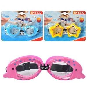 Очки для плаванья 55603 (12шт) детские, 3-8лет, УФ-защита, регул рем, 3 вида, на листе, 20-15-4см
