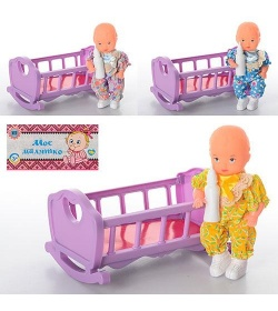 HU Кроватка 729V качалка, с куклой и бутылочкой