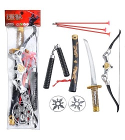 ZY Набор ниндзя 8610 лук, меч, нунчаки, в кульке