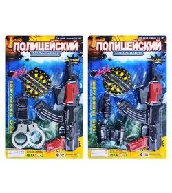 Набор полиции ZY E 01 AK 6-7 (72шт) 2 вида, автомат, пистолет на присосках, мишень, на листе,29-43см