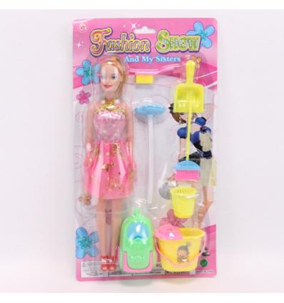 Кукла XJL881-C1 набор для уборки, на листе, микс цветов