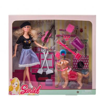 Кукла 7726-A1 собачка, инструменты, скрипка, в кробке