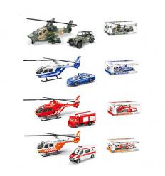 Набор транспорта 1817B-1ABCD вертолет, машинка, 4 вида, в коробке