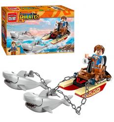 Конструктор BRICK 1302 Пиратская серия, лодка, акулы, фигурка, в коробке