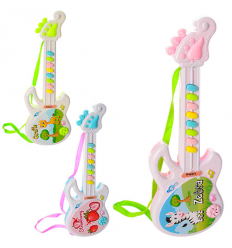 Гитара 318-75-76-78 музыкальная, на батарейках, в кульке