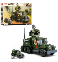 Конструктор SLUBAN M 38 B 0685 (32шт) военный, 2 в 1, машина, 243 дет, фигурки, в коробке, 33-24-5,5