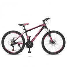 Велосипед 24 Д. G24YOUNG A24.4 (1шт/ящ) PROFI, Черно-розовый