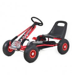 Карт M 0645-3 (1шт) жел, педальный, ручной тормоз, надувн колеса, цепная передача, красный