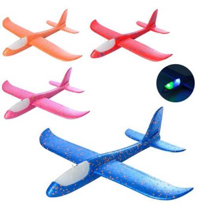 Самолет Y 8551-49 светящиеся, пенопласт, в кульке
