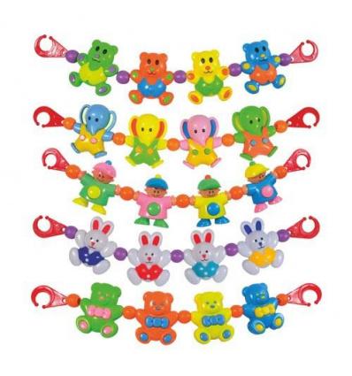 Погремушка на коляску 6348-56-82-78-52 А (288шт) растяжка на коляску, 6 видов, в кульке, 39см