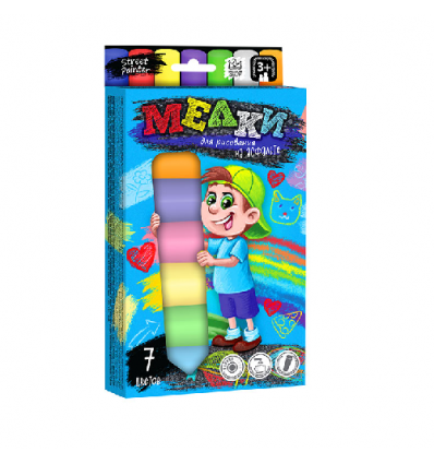 """Мел для рисования на асфальте MEL-01-05 """"Danko-toys"""", 7 цветов, большие"""