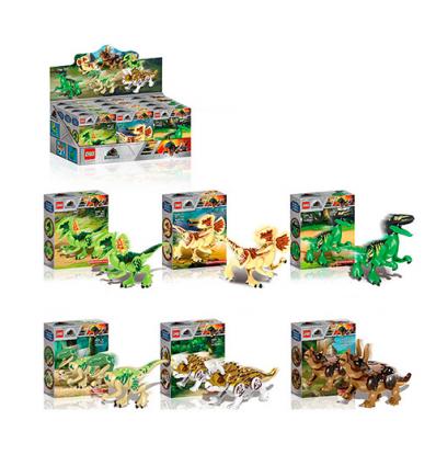 Конструктор ZB 2205 JW, динозавр, в коробке,12 шт (6 видов) в дисплее