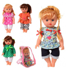 Кукла 5513-14-15-16 на батарейках, в рюкзаке