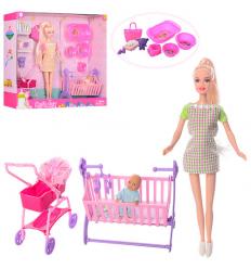 Кукла DEFA 8363 ,беременная,коляска,кроватка,,в коробке,