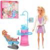 Кукла DEFA 8408-BF врач - стоматолог, шарнирная , дочка , мебель, в коробке
