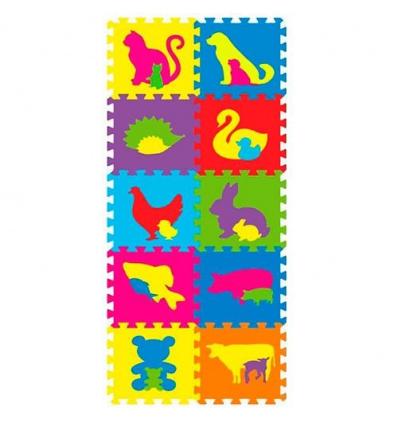 Коврик Мозаика M 2738 (12шт) EVA, фигурки животных, 10дет, в кульке, 29-29-8см