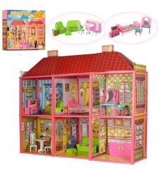 Домик 6983 (5шт) 108,5-93-37см,2эт6комн, мебель для куклы 29см, 128дет, в кор-ке, 70-48-9см