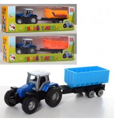 Трактор 0488-700Q металл, с прицепом, в коробке