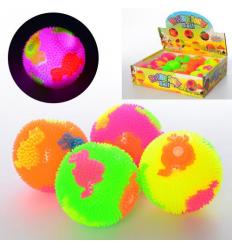 Мяч массажный MS 2392-10 (1уп/12шт) пищалка, свет, в дисплее