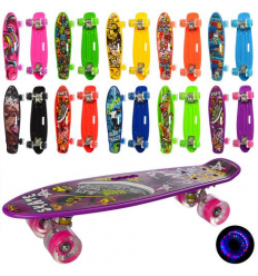 Скейт MS 0749-6 PROFI, пенни 55-14,5 см, светящиеся