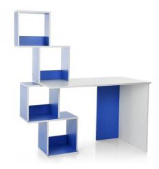 Парта M 3854-4 (1шт/ящ) c надстройкой, белый+синий