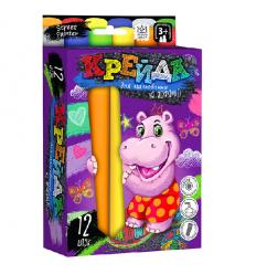 """Мел для рисования на асфальте MEL-01-06U """"Danko-toys"""", 12 цветов, большие, укр"""