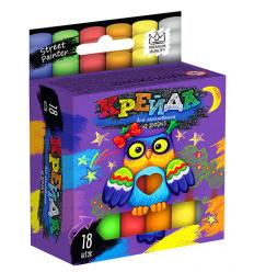 """Мел для рисования на асфальте MEL-02-04U """"Danko-toys"""", 18 цвета, тонкие, укр"""