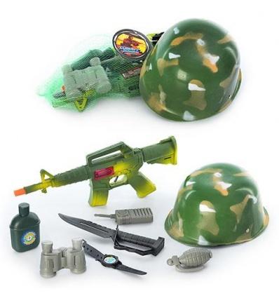 Каска 8028 (72шт) военный набор,20см,автомат-трещетка 37см,бинокль, фляга, нож,в сетке, 37-15-4см