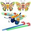 Каталка 305 (72шт) на палке, бабочка - погремушка, машет крыльями, 3 вида, в кульке, 27-20-8см