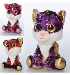 Мягкая игрушка MP 2143 (24шт) животное, размер средний, глазастики, пайетки, 3цв,в кульке,18см