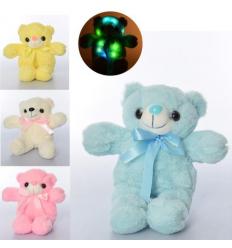 Мягкая игрушка MP 2145 (36шт) мишка, размер средний, свет, 4цвета, на бат-ке, 30см