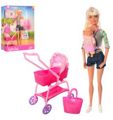 Кукла DEFA 8380-BF (24шт) шарнирная, 28см, коляска, пупс7см, аксессуары,2вида,в кор-ке, 23-33-7,5см