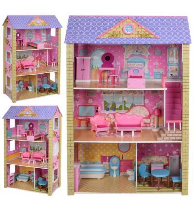 Деревянная игрушка Домик MD 2009 для куклы,118-78-36 см, в коробке