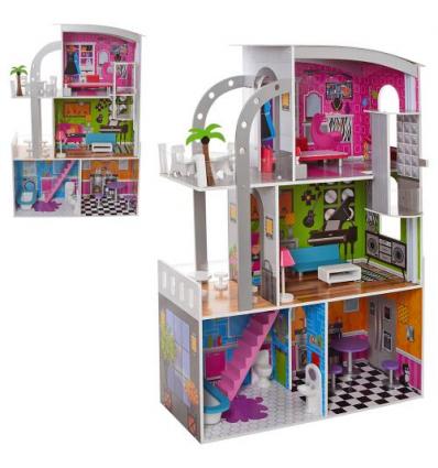 Деревянная игрушка Домик MD 2012 для куклы,113-74-29 см, в коробке