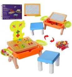 Столик игровой DQ 828 Стульчик, досточка для рисования, мозаика на шурупах, в коробке