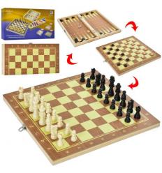 Шахматы QP 002-1 дерево, 3в1 (шашки, нарды), в коробке